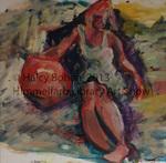 Girl with Beach Ball by Halcyone Bohen